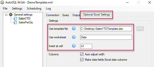 Optional Excel settings